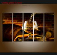 ingrosso vino moderna arte astratta pittura-Large 5 Panel Modern Abstract Grapes Vini Frutta Pittura Stampa su tela Immagini Kitchen Wall Art Contemporanea Per la decorazione domestica Regalo ASet241