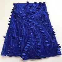 telas africanas al por mayor-Madison de alta calidad del vestido de fiesta de bodas tela de encaje Coral AZUL lentejuelas de tela de encaje francés Applique tela de encaje de tela africana