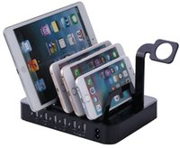 Wholesale multi phone charging station resale online - Multi port USB phone charger Ports fast Charging Station Dock Stand Holder For iPhone S Samsung xiaomi redmi iwatch LLFA