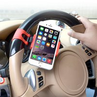 Wholesale steering bike - Universal Car Phone Stand Car Steering Wheel Phone Holder Bike Clip Mount Stent for IPhone X 8 7 6s SAMSUNG GALAXY S8 Retail Package