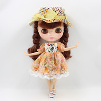 Wholesale Lolita Dolls - Blyth Doll Clothes ICY Licca Orange Printed Pattern Lace Dress with Hat 1 6 30cm Lolita BJD Free Shipping