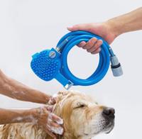 ingrosso spazzola doccia per animali da compagnia-Creativo casa di moda pet bagno artefatto doccia ugello spruzzo d'acqua automatico gatto doccia morbido Teddy cane pulizia spazzola da massaggio