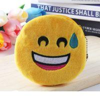 küçük doldurulmuş oyuncaklar çantası toptan satış-Gülümseme Yüz Karikatür Sikke Cüzdan Kişilik Kulaklık Çanta Fermuar Hediyeler Emoji Gülümseme Küçük Sarı QQ İfade Dolması Oyuncak Peluş Çanta Kolye