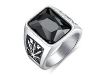 glassteine für ringe groihandel-Europäische und amerikanische Retro-Persönlichkeit breite Version Männer Titan Stahl Ring Ahornblatt Glasstein Ring