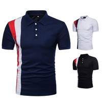 yeni tasarım polo tişört toptan satış-Polo Gömlek Siyah Çizgili Tasarım Gömlek Polo Markalar Yaka Boyun T Shirt Yüksek Kalite Pamuk Popüler Gömlek Erkekler için Yeni Moda Şort