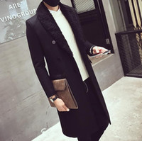 ingrosso cappotti di lana di mens grigio-MENS Inverno lungo Parka nero grigio scuro bavero collo cappotti di lana uomo classico vestiti di moda spedizione gratuita