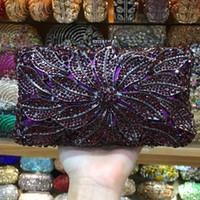 фиолетовые сумочки свадьбы оптовых-Fashion Crystal Evening Clutches Women Rhinestones Bridal Purses Wedding Prom Clutch Evening Bag Handbags Shoulder bag purple