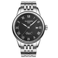 мужские кожаные часы тонкие оптовых-GUANQIN  Automatic Watch Men Ultra Thin Steel Band Leather Strap Men Mechanical Watches horloge mannen