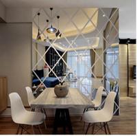 akrilik elmas çıkartması toptan satış-3d duvar aynası çıkartmaları oturma odası ev dekorasyon modern elmas desen diy duvar çıkartmaları sticker akrilik dekoratif sticker