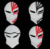 Wholesale bleach ichigo full cosplay online - PVC Death Ichigo Kurosaki Bleach Mask Dance Masquerade Party Cosplay Halloween red black death mask in stock