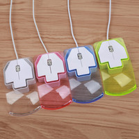 Wholesale Usb Mouse Small - FFFAS Cute Transparent Led Optical Wired Mouse Shining Night Light Small Mini Fashion Mouse For Computer PC Laptop Desktop USB