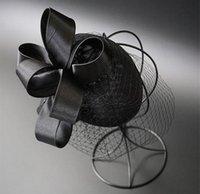 örtü klipsleri toptan satış-En Kaliteli Gelin Birdcage Veils Gelin Düğün Şapka Klip Siyah Tül Düğün Parti Akşam Fascinator Şapka Düğün Aksesuarları
