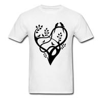 venda amor pássaros venda por atacado-Masculino Regular Tops Tees Verão Outono Árvore Do Amor Gráfico T Shirt Impressão Abstrata T-Shirts Vector Pássaros Primavera Tshirt À Venda