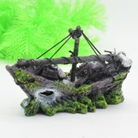 Wholesale Ship Aquarium Ornaments - Wholesale-NEW ARRIVAL Resin Aquarium Ornament Wreck Sailing Boat Sunk Ship Destroyer Fish Tank Cave Decor
