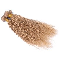 Wholesale unprocessed honey - Honey Blonde Peruvian Hair Weave Wefts 3 Bundle Deals #27 Blonde Unprocessed Human Kinky Curly Hair Extensions 10-30'' Free Shipping