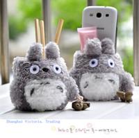 Wholesale plush phone holders resale online - Super Kawaii My Neighbor Totoro Plush Cover Doll Phone Stand Holder Pouch Case Rack Doll School Desk Pen Toys Holder Box