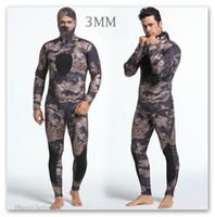 yüzme neopren kıyafeti toptan satış-Dalış Takım Neopren 3 MM erkek Dalış Spearfishing Wetsuit Swim Suit Kış Balıkçılık Iki Parça Başlık Kamuflaj Kış Islak Elbise Yüzme