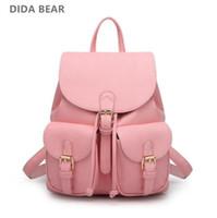 mochila de oso rosa al por mayor-DIDA BEAR Mochila de cuero para mujer Bolsas negras Mochila Feminina Mochila para niña grande Mochila de viaje Mochilas escolares Candy Color rosa
