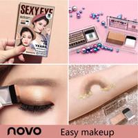 escovas de maquiagem coreano venda por atacado-2018 Preguiçoso Eyeshadow Estilo Coreano Cosméticos Fosco Shimmer Sombra de Olhos Selo Palette Nua Com Escova Nu Maquiagem Set #
