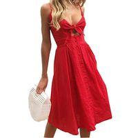 Wholesale kawaii chiffon dress for sale - Summer Beach Women Dresses Fashion Chic Sexy Spaghetti Strap A line Party Dress Bowknot Buttons Backless Kawaii Dress GV566