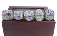 Wholesale england patriots - New Arrived Free Shipping 5PCS Ring set 2001 2003 2004 2014 Newest 2017 England Patriots Championship Ring AAA+