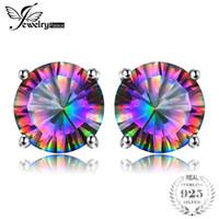 marca mística al por mayor-Natural Mystic Rainbow Topaz Pendientes Stud para niñas Genuine Pure Solid 925 Sterling Silver Round Brand Fashion Hot Wholesale
