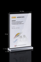 Wholesale box frame poster for sale - A5 Clear acrylic T type table card display brand wine water card advertising poster display stand holder racks pack