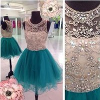 Hot selling Jewel Neck Short Homecoming Dresses 2018 With Luxury Beading Crystals Sequins A Line Tulles Girls' Graduation Party Dresses