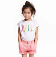 kızlar beyaz tişörtler toptan satış-Beyaz katı t shirt elbise bebek t shirt kız t-shirt çocuklar klasik tarzı% 100% pamuk hayvan katı 18 ay 2 3 4 5 6 yıl toptan üstleri