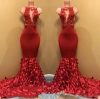 vestido vermelho longo chiffon designer venda por atacado-2018 Designer Illusion Corpete Vermelho Vestidos de Baile Longa Folha Em Camadas Sereia Saia Rendas Apliques de Contas Vestido de Noite Formal Vestido Pageant