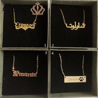 enfants bijoux enfants achat en gros de-QIMING Initial nom personnalisé lettre collier femmes or arabe police bébé enfants enfants bijoux plaque signalétique collier pour les filles cadeau