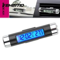 car thermometer led 2018 - Car LED Digital Air Outlet Clock Thermometer Temperature Monitor Accessories