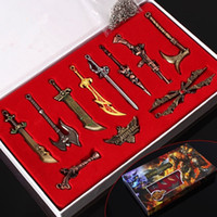 Discount keyring weapons - League of Legends Weapon Model LOL Game Accessories Keyring 11 Collector's Edition Boxed LOL Characters Novelty Items GGA234 5sets