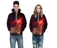 mens grafit hoodies toptan satış-Yüksek Kalite 3D Hoodies Mens Womens Casual Tişörtü Uzay Galaxy kurt aslan Baskı Hoodie Evren Yıldızlı Gökyüzü Grafik Unisex Kazak
