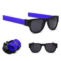 Wholesale men slapping women - Sun Glasses women Slap Sunglasses Men polarized Slappable Bracelet Wristband Fold Shades Fashion Mirror Oculos Sunglasses GGA134 50PCS