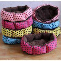 samtreiniger großhandel-Weiche Fleece Hunde Bett Super Baumwolle Samt Pads Circular Point Muster Heimtierbedarf abnehmbare Kreative Kennel Einfach Sauber 13xl jj