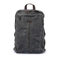 Wholesale hunting oil for sale - Group buy 5pcs Vintage Genuine Leather Canvas Rucksack Backpack Retro Oil Wax Waterproof Outdoor Travel Luggage Bag Satchel Schoolbag