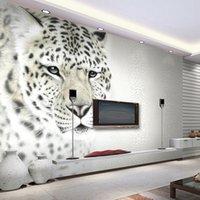 decoração de animais 3d venda por atacado-Animal Branco Leopardo Foto Mural Personalizado Tamanho Não-tecido 3D Papel De Parede Sala de estar TV Sofá Fundo Moderna Simples Decoração de Casa