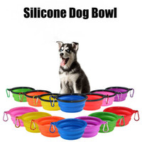 Wholesale Puppy Bowl Dogs - Silicone Folding Dog Feeding Bowl Collapsible Cats Water Dish Cat Portable Feeder Puppy Travel Bowls 8 Colors #4187