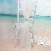 Wholesale white satin banquet chair covers - Spandex Chiffon Chairs Bands With Buckle White Slub Chair Cover Sash Party Supplies Hot Sale 7 5dm C R