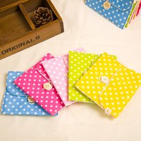 Wholesale dot napkins for sale - Group buy Sanitary Napkins Package Multi Color Cotton Polka Dot Printing Menstrual Pads Storage Bag Hot Sale hj C