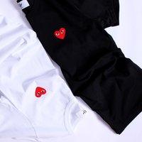 camisas de designer vermelho homens venda por atacado-Mulheres Tops New Arrivals Designer de Moda T Camisa dos homens Marca Plays Jogos Coração Vermelho Dos Homens Amantes Camiseta Hip-hop Sólida Manga Curta
