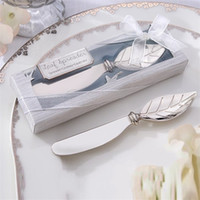 Wholesale Unique Holiday Decorations - Creative Wedding Gifts Leaf Butter Knife For Smear Cake Unique Party Favor Decorations Safe Factory Direct Sale 3 8zr X