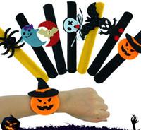 handklatschenspielzeug großhandel-Halloween Slap Clap-Armband-Partei-Dekoration Fledermaus Kürbis-Geist-Form-Serie Clap Plüsch Pat Hand Kreis Spielzeug-Armband für Kinder