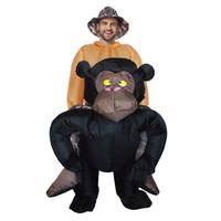 aufblasbarer karneval großhandel-Halloween Purim Party Kleidung aufblasbare GORILLA Kostüm Air geblasen Fahrt auf Gorilla Kostüme Karneval Tier Maskottchen Kleid LJ-018