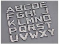 nummer auto aufkleber großhandel-DIY Luxus Kristall Diamant Metall Zahlen Buchstaben 3D Auto Aufkleber Dekoration Zubehör Forbmw Vw Golf 4 5 6