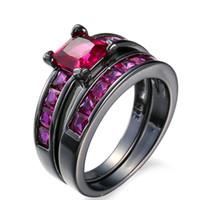 siyah altın nişan yüzük setleri toptan satış-Nişan Yüzüğü Mor Mavi Zirkon taş 10KT Siyah Altın 2 adet / takım Kadınlar Düğün band Yüzük Seti