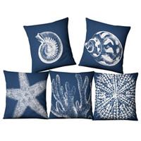 tirar almohadas cubre conchas al por mayor-Azul funda de cojín náutico coral mar shell cojines decorativos marino sofá cama tiro funda de almohada 45 cm lino almofada