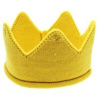 ingrosso corona a maglia del bambino-New Fashion Cute Baby Hat Ragazzi Ragazze Crown Knit Headband per il compleanno Candy Color Hat Chapeu Vintage # 7919