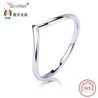 verlobungsring v form großhandel-V Form Silber Dreieck Ring Ewigkeit Verlobungsring Beste Freund 925 Sterling Silber Endlose Liebe Symbol Mode Fingerringe